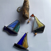 Recycled Stained Glass Boat Mobile, Multi Colour
