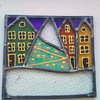 Reserved for Jill, Teeny Tiny Snowy Winter Village, Stained Glass Panel