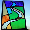 Stained Glass Panel, Impression of Somerset Levels