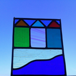 Beach Huts and Fish, Stained Glass Panel
