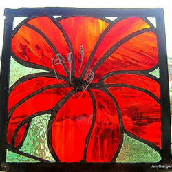 Sunburst Lilly Stained Glass Panel