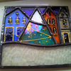 Teeny Tiny Snowy Winter Village (blue house), Stained Glass Panel