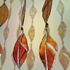 Stained Glass Large Leaves Window Hanging