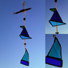 Turquoise and Blue Stained Glass Boats Mobile