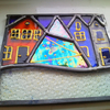 Teeny Tiny Snowy Winter Village, Stained Glass Panel