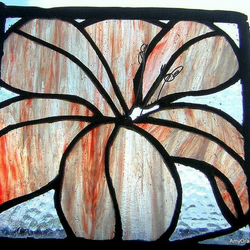 Raspberry Ripple Lilly Stained Glass Panel