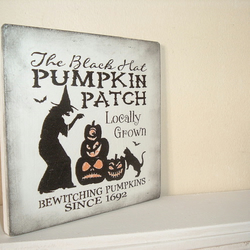 shabby chic distressed plaque-pumpkin patch halloween fun plaque