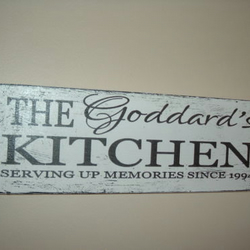 Personalised Kitchen plaque sign shabby chic distressed