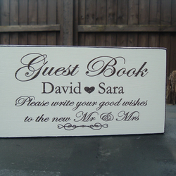 shabby chic vintage Guest Book sign wedding personalised sign plaque