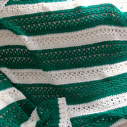Green and Cream Striped Crocheted Blanket Throw