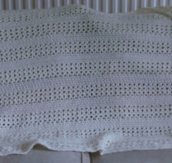 Cream Coloured Crocheted Blanket Throw