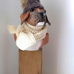 Chilly boxer dog textile sculpture bust. Hand stitched painted cotton puppy art