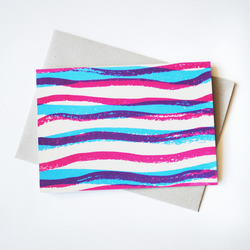 'Waves' Hand Printed Card in Magenta and Fluorescent Blue