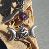 Amethyst, Triple Moon and Pentacle Pendant on Leather Cord Necklace