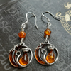 Baltic Amber Cat and the Moon Sterling Silver Earrings