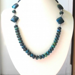 Lapis Chrysocolla and Chinese Ruby in Zoisite Necklace