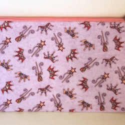 Pencil Case. Princess Crowns and Wands in Pastel Lilac and Pink