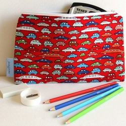 pencil case. Travel wallet. Fun red cars