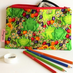 Pencil Case. Flowery Frogs. Makeup Bag. Travel Document Wallet