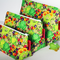 Cute Floral Frogs Medium Wash Bag. Great Gift For Girls. Sleepover Bag