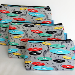 Retro Vintage Style Music Records Large Wash Bag. Great Gift for Ladies