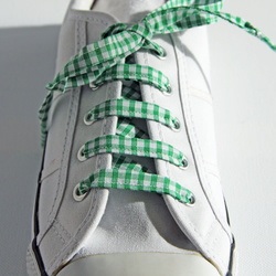 Retro Green Gingham Patterned Shoelaces. Perfect for Girls. School Uniform