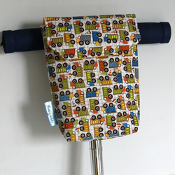 Roomy Micro Scooter or bicycle bag with Dumper trucks. Great gift for Boys