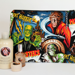Retro Vintage Style Classic Horror Film Large Wash Bag. For Ladies or Gents