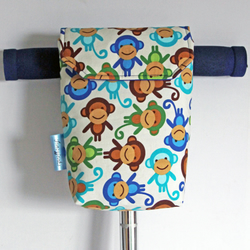 Roomy Micro Scooter or bicycle bag with funky monkeys. Great gift for children