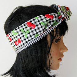 Retro Reversible Fifties Style Gingham Cherries Hair Wrap. Head Scarf. Bandana.