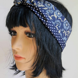 Cute Retro Reversible Navy Floral Hair Wrap. Head Scarf. Bandana.Vintage Style