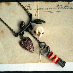 Steampunk Key and Skull Necklace, Benjamins Promise