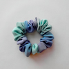 Small ombre muted green and grey painted silk hairtie, scrunchie.