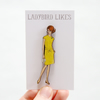 Sally Vintage Style Wooden Fashion Lady Brooch
