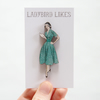 Betty Vintage Style Wooden Fashion Lady Brooch