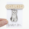 Cat Lady Dangle Wooden Laser Cut Brooch