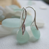 Sterling silver sea glass earrings, Scottish sea glass sea foam, wave shaped