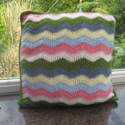 Crochet wavy pattern cushion