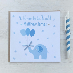 Personalised Blue Elephant New Baby Boy Card (LB039)