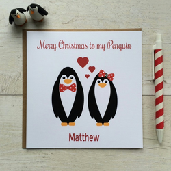 Personalised Merry Christmas to my Penguin Christmas Card (LB022)
