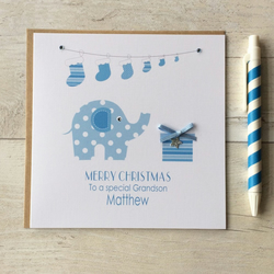 Personalised Christmas Card with Elephant and present in blue (LB103)