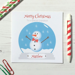 Personalised Christmas Card with Snowman in a snow globe (LB167)