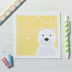 Personalised love from the Bump Christmas Card Yellow Pink Blue Green - 172