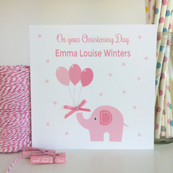 Personalised Pink Elephant Christening, Baptism, Naming Day Card (LB059)