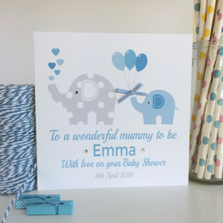 Personalised Blue Baby Shower Card with Elephants (LB041B)