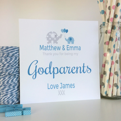 Personalised Thank you for being my Godparent, Godmother, Godfather Card -LB042