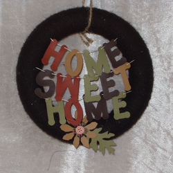 wool wrapped wreath home sweet home