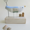 Fabric Sea Bird - Seagull with Wire Heart and Little Recycled Ruler Huts