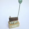 SALE - Little wooden home with clay love heart - green