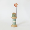 SALE - Little oak house with clay flower on wooden bobbin 'summer-house'